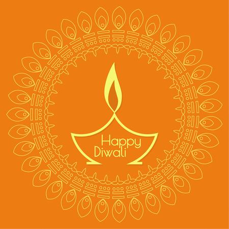Abstracte achtergrond met olie aangestoken lamp met rangoli voor Diwali viering.