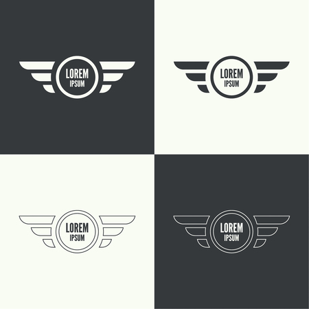 wings logos: Badge and shield with wings. Symbol of military and civil aviation. Outline  emblems Illustration