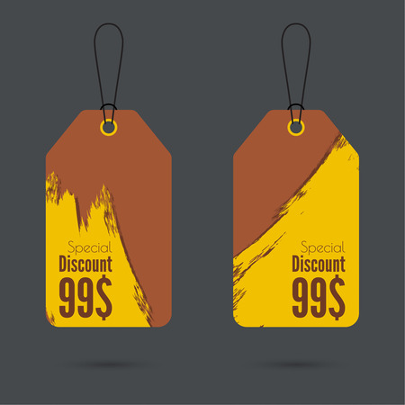 discount tag: Set price tag with ribbons and labels. Special discount. Illustration