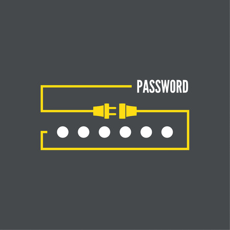 logon: Web form to access the site. Password and lock with wire plug and socket.. Mobile and web applications. minimal.