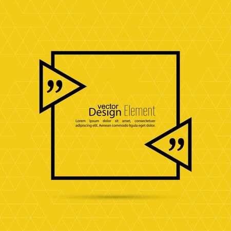 discussion: Vector yellow abstract background with triangles.Quotation Mark Speech Bubble. Quote sign icon.