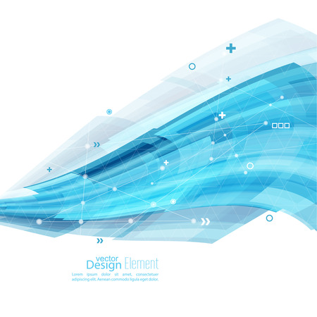 Abstract background with blue stripes, plus and curves. Concept  new technology and dynamic motion. Digital Data Visualization. Arc with symbols. Annual Report with  information dots, circle, wave