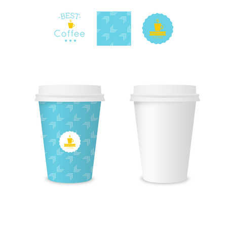 polystyrene: Closed paper cup for coffee with texture. Sample seamless pattern coffee badge. Mock up. blue, arrow
