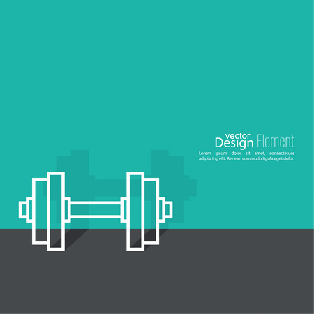 muscle training: Dumbbells lying on floor with  shadow. sport and muscle training. flat design. outline. minimal. Vectores