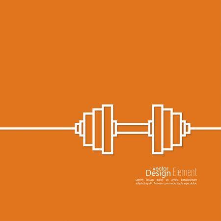 salud y deporte: Pesas icono. el deporte y el entrenamiento de los músculos. diseño plano. contorno. mínimo.