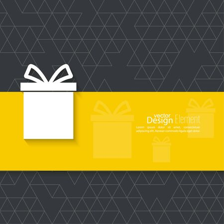 gift bow: Gift box on narrow banner, ribbon. Abstract background with triangles