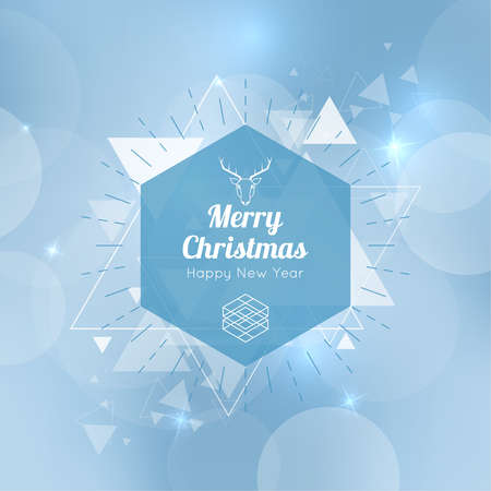 hovering: Abstract blurred vector background with hexagon banner and hovering triangles. Merry Christmas. Happy New Year.