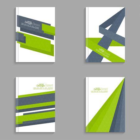 tarjeta de invitacion: Establezca la portada de revista con origami intersección cintas. Para el libro, folleto, folleto, cartel, folleto, prospecto, portada del CD, tarjetas postales, tarjetas de visita, el informe anual. ilustración vectorial. resumen de antecedentes