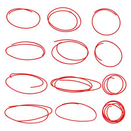 highlight: Set hand drawn ovals, felt-tip pen circles. Underlining, note, highlight important information. Rough frame elements.