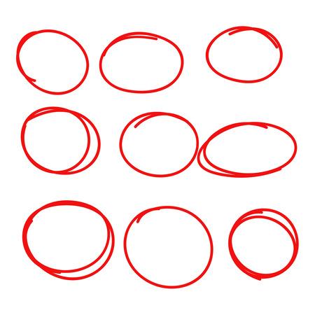 Set hand drawn ovals, felt-tip pen circles. Underlining, note, highlight important information. Rough frame elements.