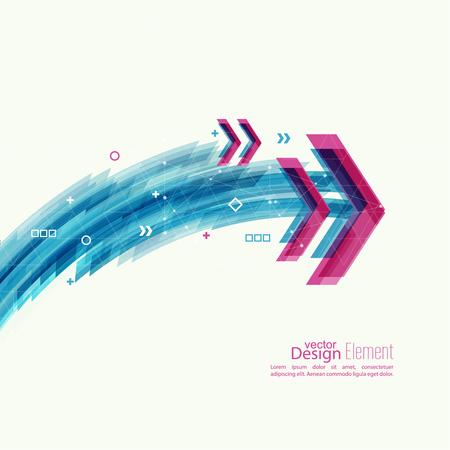 flechas: Resumen de fondo con rayas azules, Plus y curvas. Concepto de la nueva tecnolog�a y el movimiento din�mico. Visualizaci�n de datos digital. Arco con s�mbolos. puntero angular Rojo