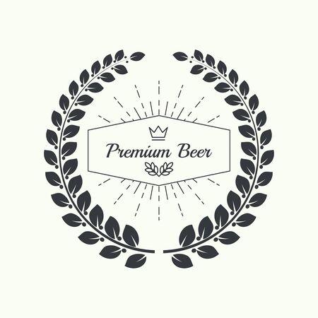 cerveza negra: emblemas cervecería cerveza, etiqueta, elemento de diseño. Para el menú de pub, bar, restaurantes, señalización. mínimo. contorno