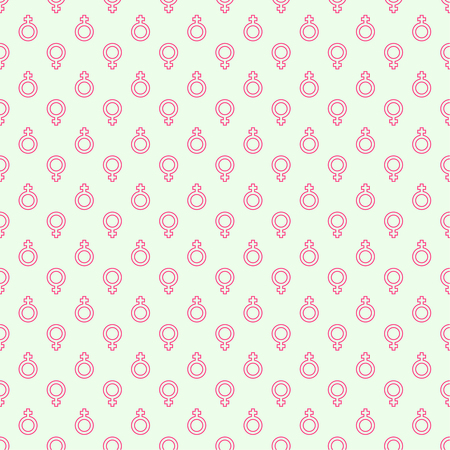 womanliness: Repeating geometric background with  symbol of  feminine. Seamless vector pattern. outline, minimal, pink
