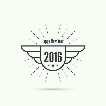 happy new year banner: happy new year 2016. Decoration collection. frames, vintage labels, seal, tag, banner, sticker.
