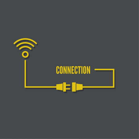 conexiones: Resumen de antecedentes con el enchufe del alambre y el zócalo. Concepto conexión, conexión, desconexión, electricidad. Zona wi fi. Vector