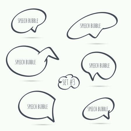 dialogo: Mano dibujada Establecer la burbuja del discurso. Vector. Elementos para el texto