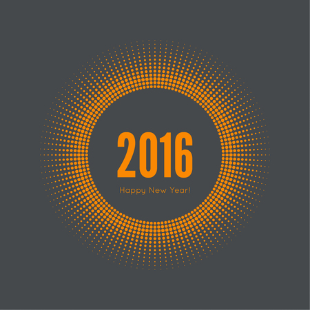 happy new year banner: Round banner with rays. happy new year 2016. Decoration collection. frames, vintage labels