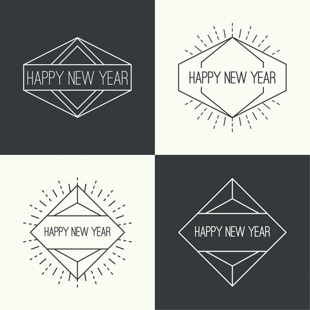 ray of light: Set of vintage hipster banners, insignias, radial sunburst. Border and frame. Minimal design. Geometric Shapes and Light Ray Collection. Happy New Year