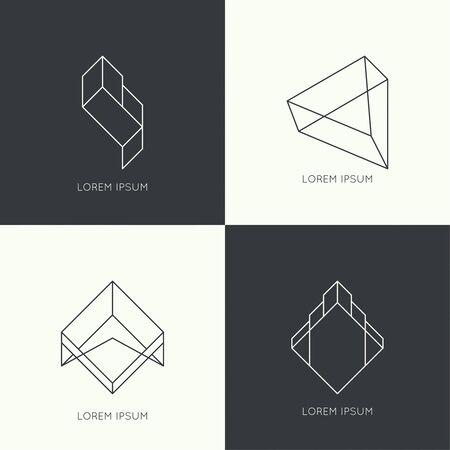 badge vector: Set of vector hipster  , badge, monogram, banner, insignias. Border and frame. Minimal design. Outline.  prism