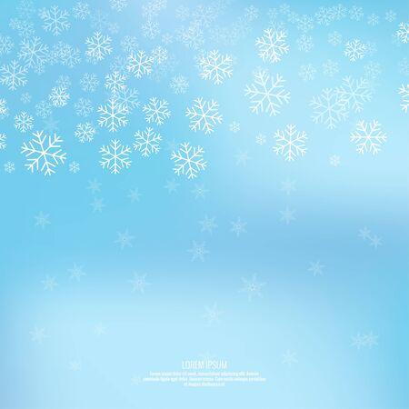 neige noel: Doux hiver abstrait avec des flocons de neige tombant scatter, des cristaux de glace et des étincelles. Cadre élégant pour la décoration festive. Illustration