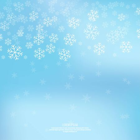 snow background: Gentle winter abstract background with falling scatter snowflakes, ice crystals and sparkles. Elegant backdrop for festive decoration.