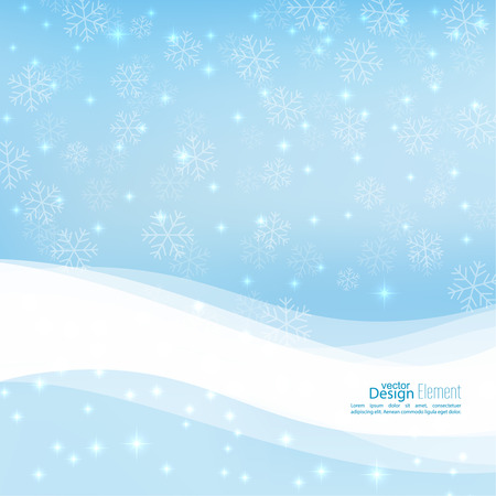 winter background: Gentle winter abstract background with falling scatter snowflakes, ice crystals and sparkles. Elegant backdrop for festive decoration. Vector design. Illustration