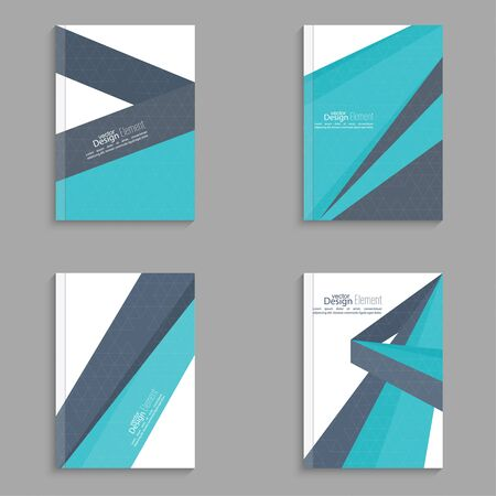 cover page: Set Magazine Cover with origami intersecting ribbons. For book, brochure, flyer, poster, booklet, leaflet, cd cover, postcard, business card, annual report. vector illustration. abstract background