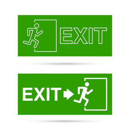 green exit emergency sign: Emergency exit sign.  Running man on a green background. vector. Outline, minimal Illustration