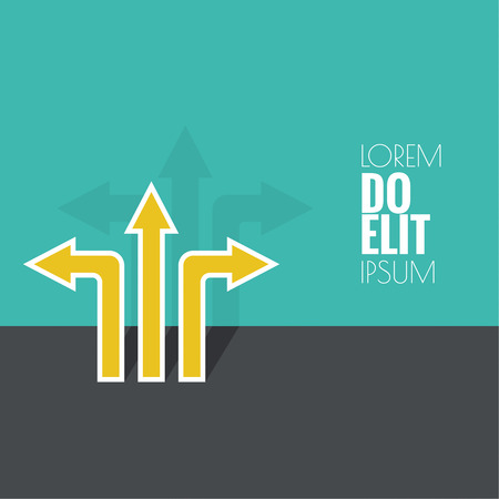 Vector abstract background with direction arrow sign. The concept of a decision making standing on road junction. Movement in an unknown direction. uncertainty choice. flat shadow Illustration
