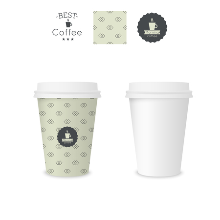 breakfast cup: Closed paper cup for coffee with texture. Sample seamless pattern coffee badge. Mock up.