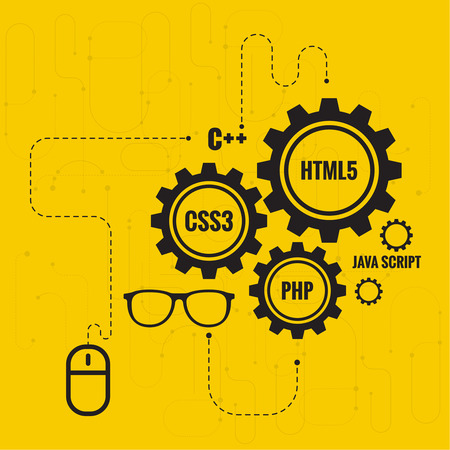 The concept of creating Web project using programming languages, search engine optimization, promotion. Gears with lines and dots, computer mouse and glasses Developer. Illusztráció