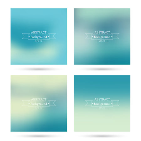 Set of vector colorful abstract backgrounds blurred. For mobile app, book cover, booklet, background, poster, web sites, annual reports.  blue, green, turquoise, cream, yellow