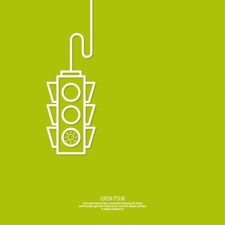 guidance: Abstract background with traffic lights. green light. vector icons. Outline. minimal. The concept of authorization, permits, Approved,