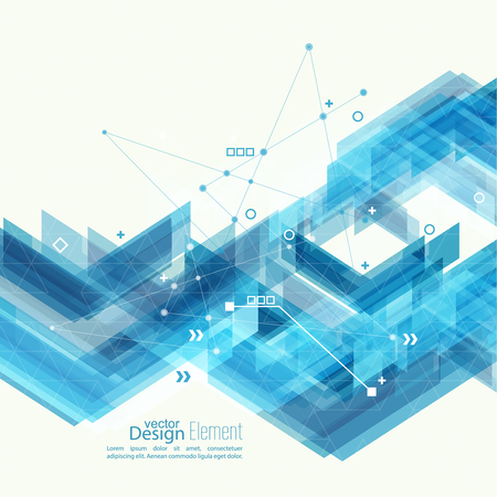 Abstract background with blue stripes corner. Concept  new technology and dynamic motion. Digital Data Visualization. For cover book, brochure, flyer, poster, magazine, booklet, leaflet Vettoriali