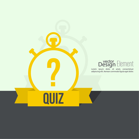 symbol sport: Timer with a question. Quiz. The concept is the question with the answer. Flat design with  shadow on  wall