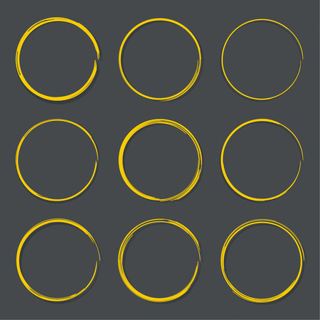 black and yellow: Set hand drawn ovals, felt-tip pen circles. Underlining, note, highlight important information. Rough frame elements. black, yellow