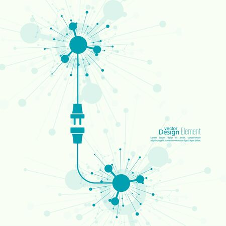 disconnection: Contemporary Abstract background with wire plug and socket. Concept connection, disconnection, electricity. Flat design. Scientific research Illustration