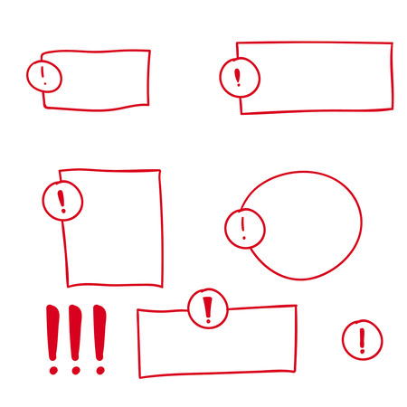 attention icon: Set hand drawn Exclamation mark. Attention sign icon. Hazard warning symbol. vector