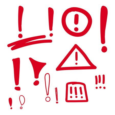 attention: Set hand drawn Exclamation mark. Attention sign icon. Hazard warning symbol. vector