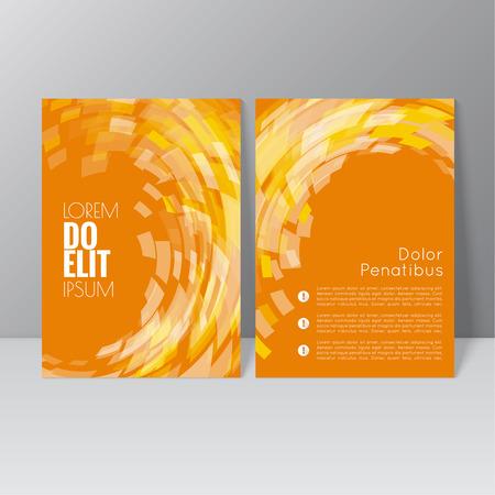 gráfico: Projeto do molde do folheto do vetor com a onda, redemoinho e diferentes elementos. Flyer ou Layout de livreto.