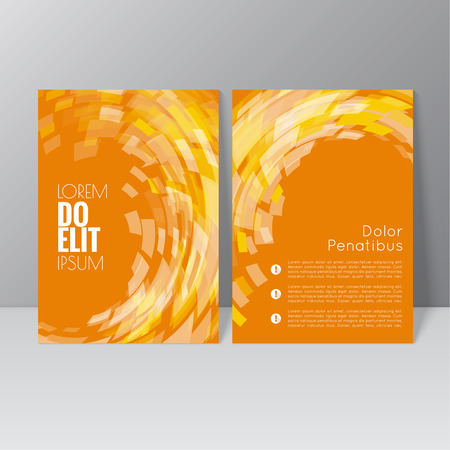 graphic: Vector brochure template design with the wave, swirl and different elements. Flyer or booklet Layout. Illustration