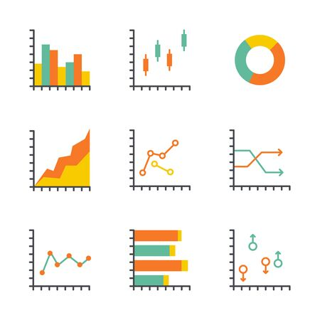 information management: Set statistics icon. Graphic analysis and asset management. Information chart profits. Business efficiency and investment. finance data. flat design