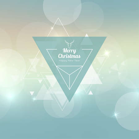 triangular banner: Abstract blurred vector background with triangular banner and hovering triangles. Merry Christmas. Happy New Year. Illustration