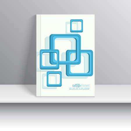 marca libros: Magazine Cover with overlapping squares. For book, brochure, flyer, poster, booklet, leaflet, cd cover design, postcard, business card, annual report. vector. abstract background