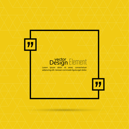 text box: Vector yellow abstract background with triangles.Quotation Mark Speech Bubble. Quote sign icon.