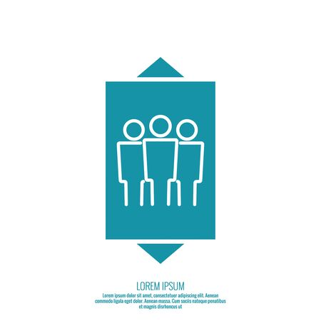 lift gate: Icon of the elevator passengers and up and down arrows vector. minimal, outline.