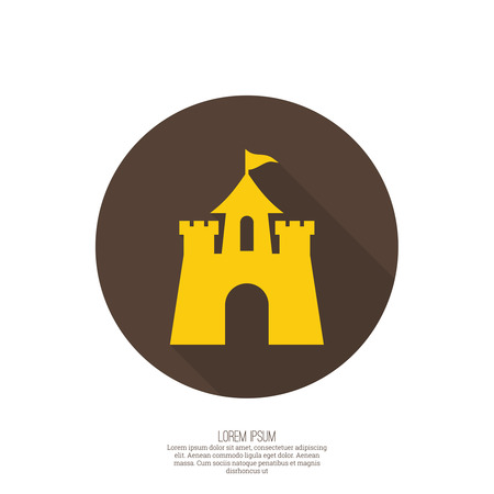 Abstract background with a medieval fortress and castle. web button