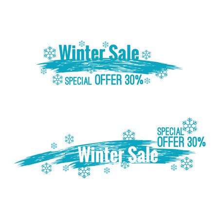 special offer: Banner winter sale with Smear a watercolor painting and snow. Special offer.