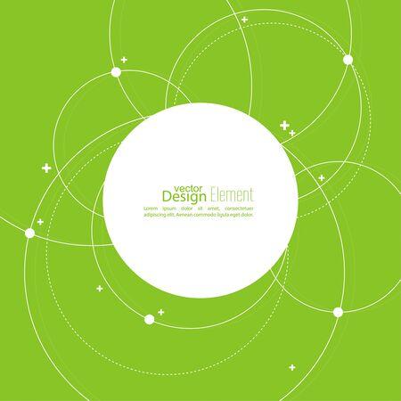 Resumen de antecedentes con los círculos superpuestos y puntos. Movimiento caótico. Bandera redonda con el espacio vacío para el texto. Estructura de la molécula de nodo. Ciencia y concepto de conexión.
