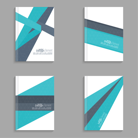 blank book cover: Set Magazine Cover with origami intersecting ribbons. For book, brochure, flyer, poster, booklet, leaflet, cd cover, postcard, business card, annual report. vector illustration. abstract background